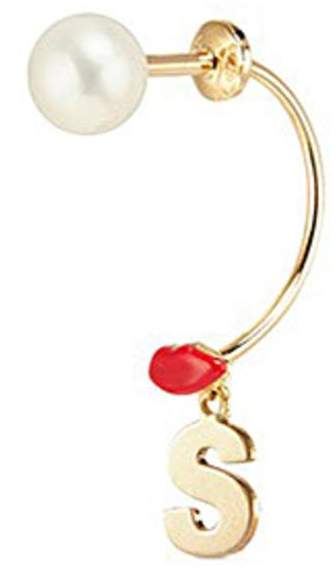 Delfina Delettrez 'ABC Micro Lips Piercing' freshwater pearl 18k yellow gold single earring - S
