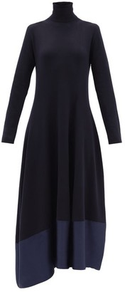 Jil Sander Asymmetric Wool-blend Midi Dress - Navy
