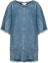Chloé Scoop-neck frayed-edge denim dress