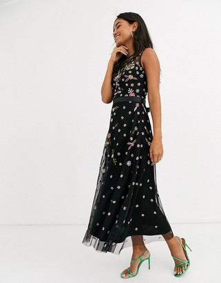 Frock and Frill sleeveless embroidered midi dress-Black