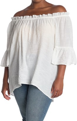 Forgotten Grace Off-the-Shoulder High/Low Peasant Top (Plus Size)