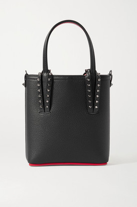 Christian Louboutin Cabata Mini Spiked Textured-leather Tote - Black