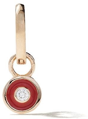 Alison Lou 14kt Yellow Gold Enamel Diamond Bezel Huggy Earring