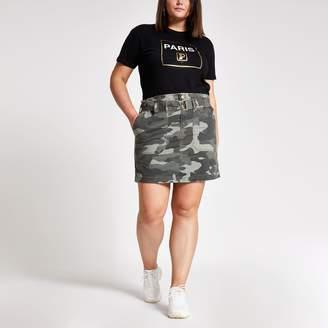 River Island Womens Plus Khaki camo paperbag utility skirt