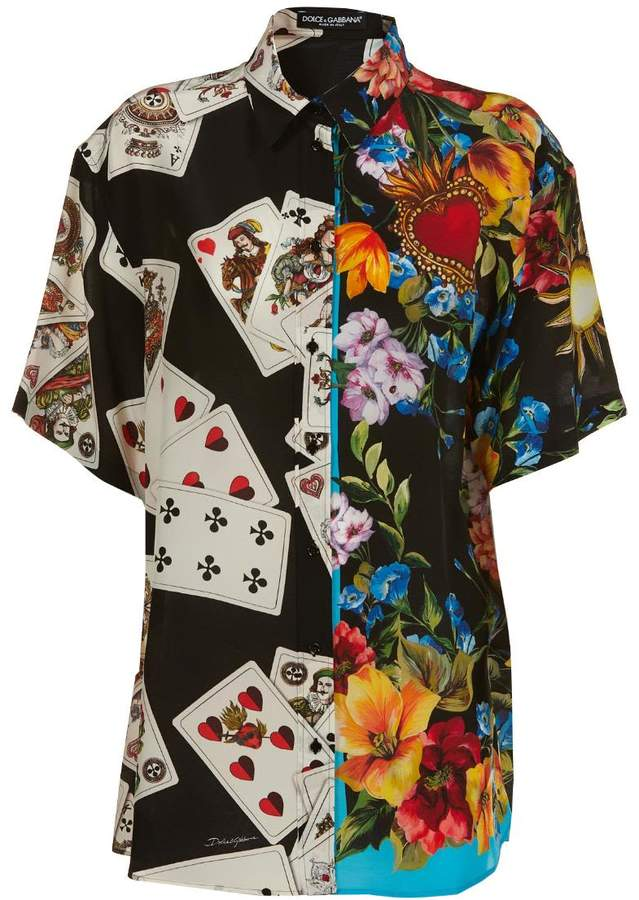 Dolce & Gabbana Cards And Floral Print Shirt