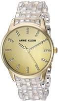 Anne Klein Women's Quartz Metal and Resin Dress Watch, Color:Clear (Model: AK/2616CLGB)
