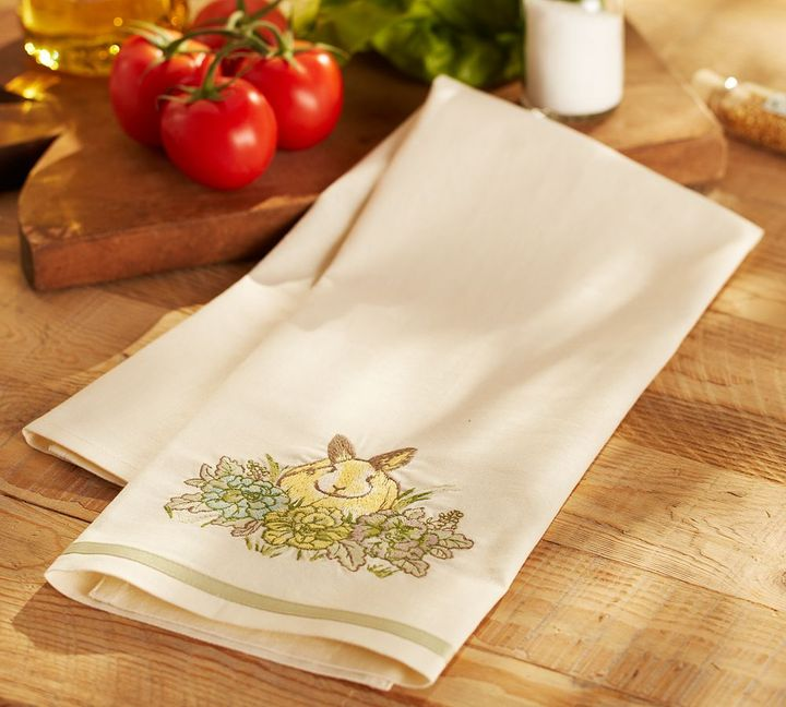 Pottery Barn Honey Bunny Embroidered Kitchen Towel