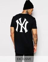 Majestic Longline Yankees T-shirt With Large Logo Back Print - Black