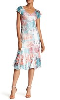 Komarov V-Neck Flutter Sleeve Print Dress