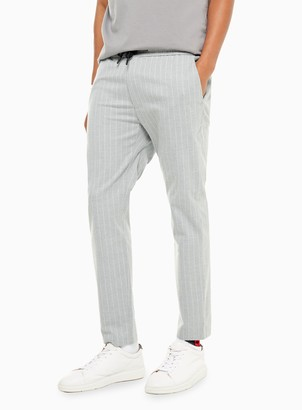 Topman Grey and White Pinstripe Stretch Skinny Trousers