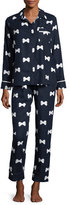 Kate Spade Bow Tie-Print Flannel Pajama Set, Navy