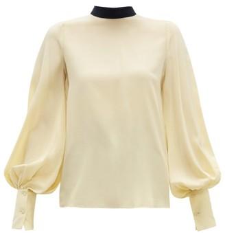 Roksanda Cala Bishop-sleeve Silk Crepe De Chine Blouse - Womens - Light Yellow