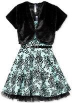 Beautees 2-Pc. Faux-Fur Shrug & Floral Dress Set, Big Girls (7-16)