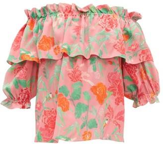 Beulah Ridhi Floral-print Silk Top - Pink Multi