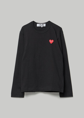 Comme des Garcons Men's Red Heart Long Sleeve T-Shirt in Black Size Small 100% Cotton