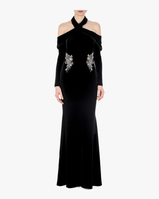 Badgley Mischka Halter Draped Gown