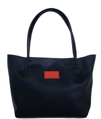 Natural Leather Tote Bag Windflower - Dark Blue