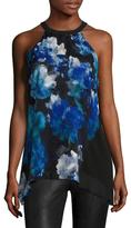 T Tahari Luz Asymmetrical Floral Print Blouse