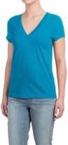 Specially made Deep V-Neck T-Shirt - Cotton-Modal, Short Sleeve (For Women)