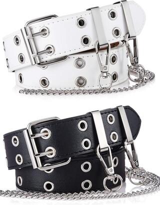Satinior Double Grommet Women Punk Belts Prong Buckle Jeans Waist Belts (White Black)