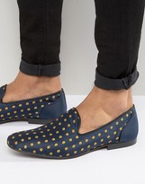 Asos Loafers In Navy With Polka Dot Embroidery
