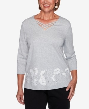 Alfred Dunner Women's Missy Glacier Lake Border Floral Embroidery Top