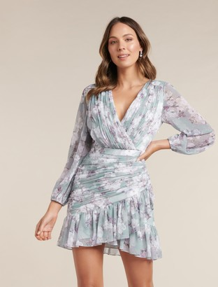 Forever New Valentina Pleated Wrap Mini Dress - Sheer Ivory Floral - 12