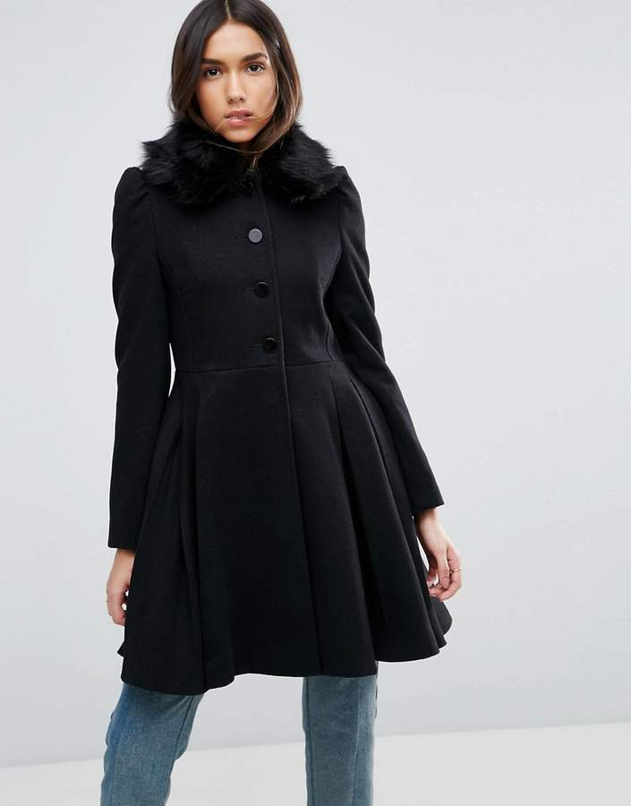 Asos Design Swing Coat With Faux Fur Collar