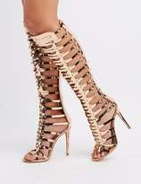 Charlotte Russe Peep Toe Caged Boots