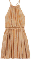 Halston Metallic Stretch-jersey Mini Dress - Gold