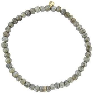 Sydney Evan Bezel Diamond Wheel Charm On Mystic Labradorite Beaded Bracelet - Yellow Gold