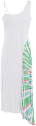 Emilio Pucci Asymmetric Printed Crepe De Chine-paneled Crepe-jersey Midi Dress
