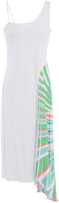 Emilio Pucci Paneled Jersey And Pleated Printed Crepe De Chine Dress