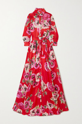 Carolina Herrera Belted Floral-print Silk-organza Gown - Red