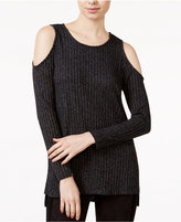 Kensie Ribbed Cold-Shoulder Sweater