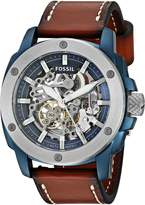 Fossil Men's Automatic Stainless Steel and Leather Casual Watch, Color: (Model: ME3135)