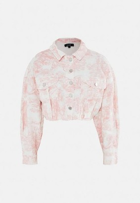 Missguided Pink Porcelain Print Cropped Denim Jacket