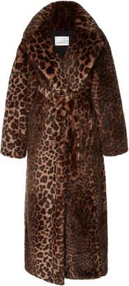 Bouguessa Long Leopard-Print Faux Fur Coat
