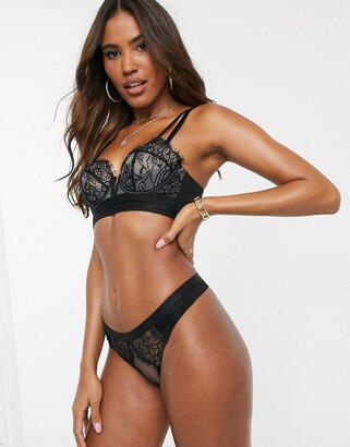ASOS DESIGN Layla thong with layered lace & mesh