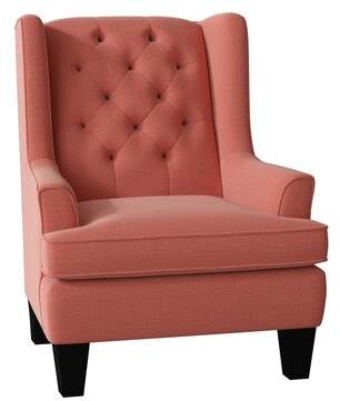 Gracie Oaks Jermaine Wingback Chair Gracie Oaks Body Fabric: Navy Purple-19702, Leg Color: Distressed Pecan