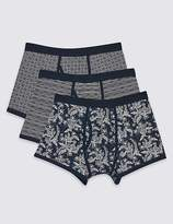 Marks and Spencer 3 Pack Cotton Rich Printed Trunks