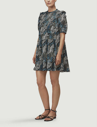 Whistles Marble animal-print silk mini dress