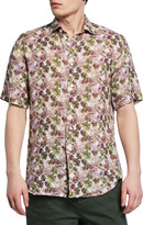 Neiman Marcus Men's Palm Leaf-Print Short-Sleeve Sport Shirt