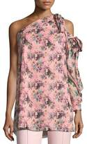 Moschino Floral Cameo-Print One-Shoulder Silk Tunic