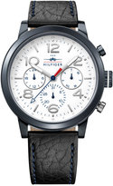 Tommy Hilfiger Men's Casual Sport Navy Leather Strap Watch 46mm 1791235