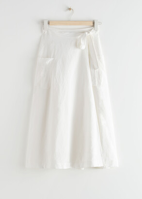 And other stories Belted Linen Blend Midi Skirt
