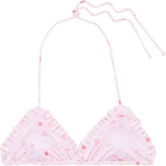 Ganni Pleated Floral-print Triangle Bikini Top