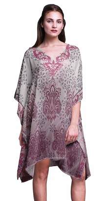 Phagun Ladies Kaftan Holiday Loungewear Midi Dress Beach Coverup-S-L White