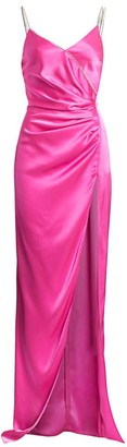David Koma Crystal Chain Strap Satin Ruched Gown