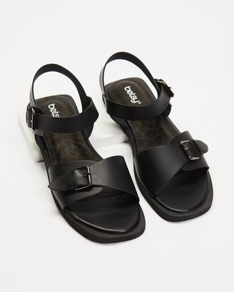 Betsy - Women's Black Flat Sandals - Double Buckle Ankle Strap Sandals - Size 38 at The Iconic